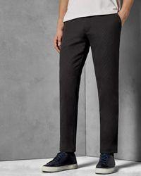 Ted Baker Pantalones Slim Fit De Algodón Con Textura - Gris