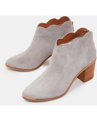 a3577f3f854 Lyst - Burberry Brown Suede Samantha Scallop Trim Pointed Toe Ankle ...