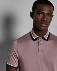 Ted Baker - Contrast Trim Cotton Polo Shirt - Lyst