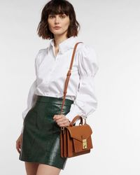 Ted Baker Leather Luggage Lock Mini Satchel Bag - Brown