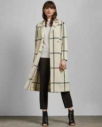 5617a3ca2bc747 Ted Baker Aurore Long Wrap Collar Coat in Red - Lyst