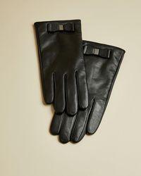Ted Baker Bow Detail Leather Gloves - Black