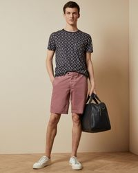 Ted Baker Cotton Chino Shorts - Pink