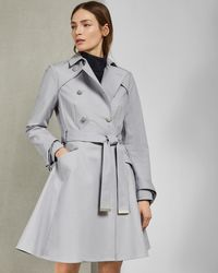 Ted Baker Knot Cuff Detail Cotton Trench Coat - Gray