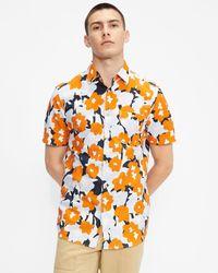 Ted Baker Ss Floral Seersucker Print Shirt - Naranja