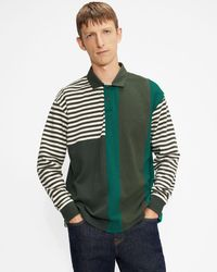Ted Baker Long Sleeved Striped Rugby Top - Green