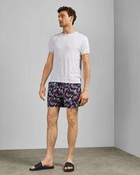 Ted Baker Fish Print Swim Shorts - Blue