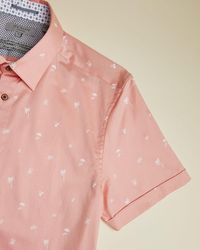 Ted Baker Hemd Aus Baumwolle Mit Tropischem Print - Pink