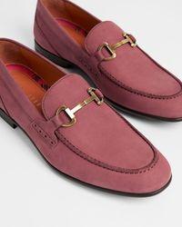 Ted Baker Nubuck Saddle Loafer - Red
