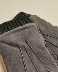 Ted Baker Handschuhe Aus Veloursleder Mit Bündchen - Grau
