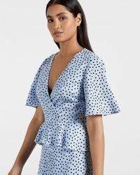 Ted Baker Dotty Peplum Tea Dress - Blue