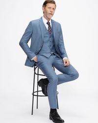 Ted Baker Slim Fit Sharkskin Suit Trouser - Blue