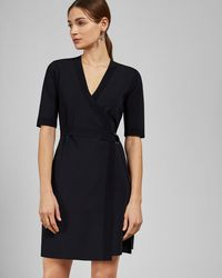 Ted Baker - Knitted wrap dress - Lyst
