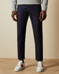 Ted Baker Straight Dark Wash Cotton Jeans - Blue