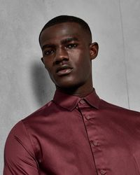 Ted Baker Satin Stretch Shirt - Red