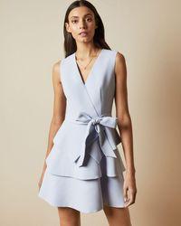 Ted Baker Tiered Sleeveless Dress - Blue