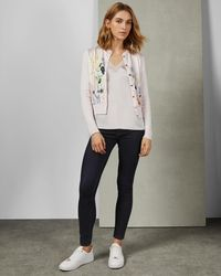 156718481 Lyst - Ted Baker Kellia Sketchbook Woven Front Cardigan in White