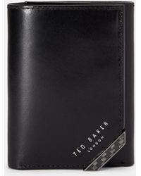 Ted Baker - Carbon Fibre Trifold Leather Wallet - Lyst