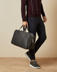 Ted Baker Core Leather Holdall - Grey