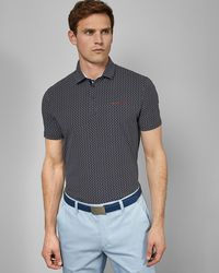 Ted Baker - Printed Cotton Golf Polo Shirt - Lyst