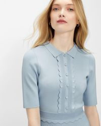 Ted Baker Scallop Bodice Knitted Dress - Blue