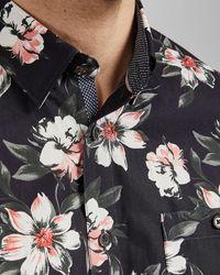 Ted Baker Floral Short Sleeved Cotton Shirt - Blue