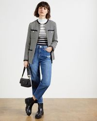 Ted Baker Bouclé Houndstooth Cardigan With Zip - Blue