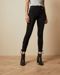Ted Baker Lattice Hem Skinny Jeans - Black