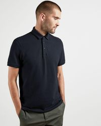 Ted Baker Textured Cotton Polo - Blue