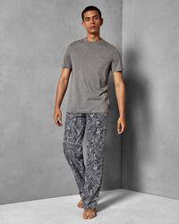 Ted Baker Paisley Cotton Pyjama Set - Blue