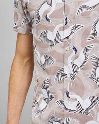 Ted Baker - Baumwollhemd Mit Vogel-print - Lyst