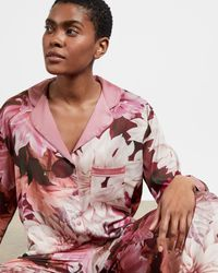 Ted Baker Clove Print Revere Top - Pink