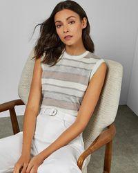 Ted Baker Striped Knitted Sleeveless Jumper - White