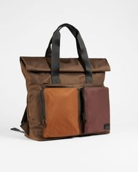 Ted Baker Satin Nylon Backpack - Marrón