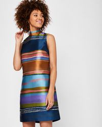 Ted Baker - Layered Neck Striped Tunic Dress - Lyst