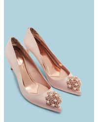 Ted Baker Brooch Detail Low Heel Court Shoes - Pink