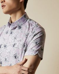 Ted Baker Camisa Algodón Manga Corta Estampado De Flores - Morado