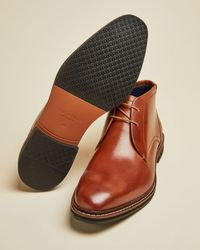 Ted Baker Leather Desert Boots - Brown