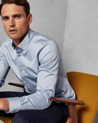 Ted Baker Satin Stretch Shirt - Blue