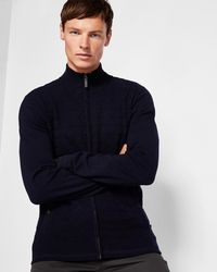 Ted Baker - Zip-through Knitted Cardigan - Lyst