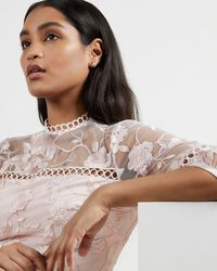 Ted Baker Tiered Lace Midi Dress - Pink