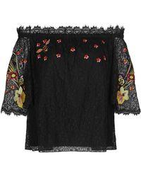 Temperley London 'leo' Floral Embroidered Guipure Lace Off-shoulder Blouse - Black