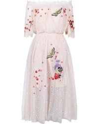 Temperley London Leo Lace Off Shoulder Dress - Multicolour