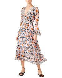 Temperley London Crochet Print V-neck Dress - Blue
