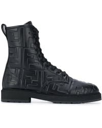 Fendi Ff Logo Combat Boots - Black