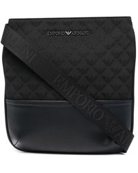 Emporio Armani - Quilted Logo-lettering Messenger Bag - Lyst