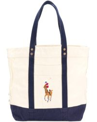 Polo Ralph Lauren Tote Bag With Logo - Natural