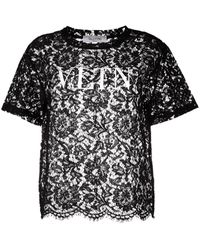 Valentino T-shirt a fiori - Nero