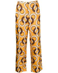 F.R.S For Restless Sleepers - Silk Geometric-print Trousers - Lyst