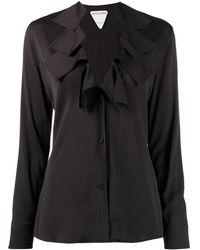 Bottega Veneta Ruffled V-neck Blouse - Black